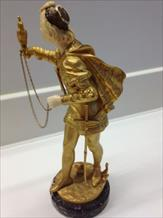 19TH CENTURY FRENCH BRONZE/IVORY FALCONER