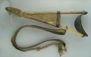 Wooden brace to support carriage of eagles.