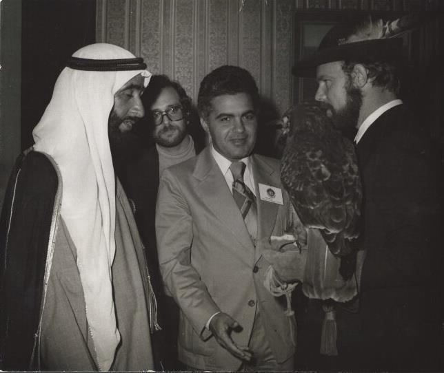 HH Sheikh Zayed bin Sultan Al Nahyan with Karl Pock during 1st Conference on Falconry Worldwide in A