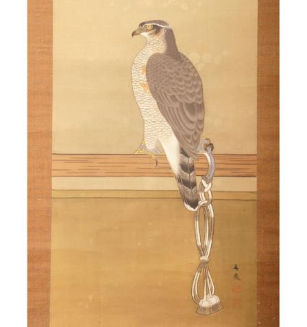 Vertical scroll with hawk from Japan Edo period