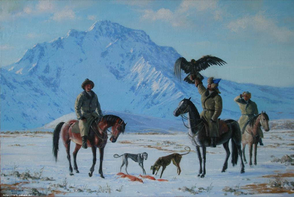 Winter hunt on fox - painting by Sergei Kazantsev