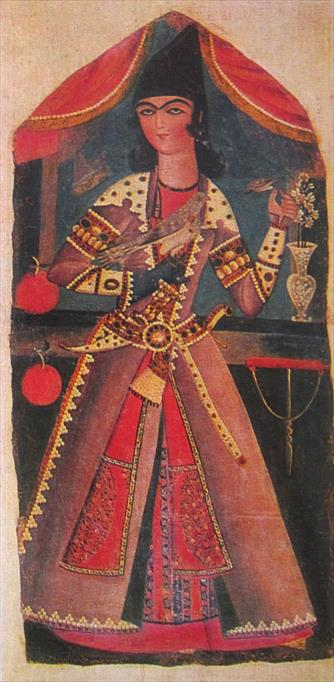 Young Man with Falcon (Qajar art, Art Museum of Georgia)