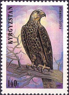 Poststamp with Saker Falcon from Kyrghyzstan in 1995