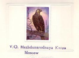 Saker Falcon on post-stamp from Kyrghyzstan in 1995 with footnotes