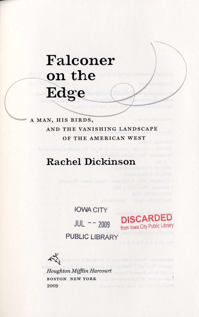 Falconer on the edge by Rachel Dickinson