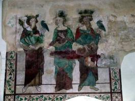 A medieval wall painting of an aristocratic Hawking Group with two hawks