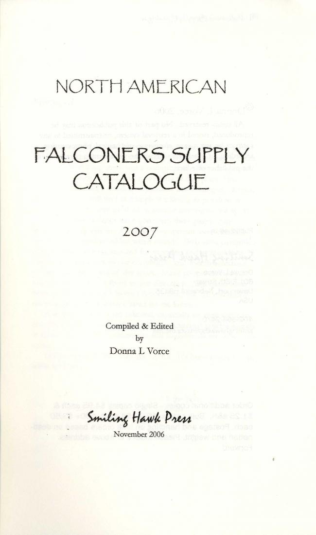 North American Falconers Supply Catalogue - Edited by Donna Vorce