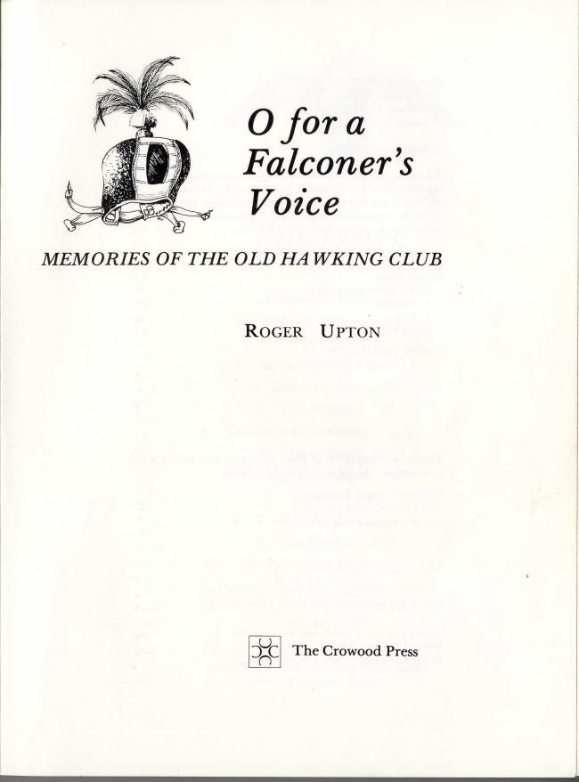 O for a Falconer's Voice by Roger Upton