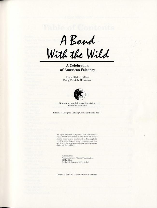 A Bond With the Wild A Celebration of American Falconry by Kenn Filkins and Doug Daniels