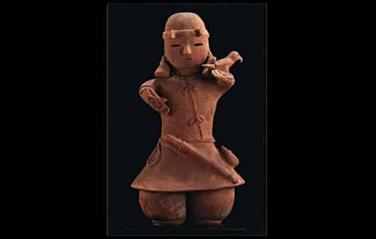 Kofun Period in the history of Japan. Haniwa Figure of Falconer.