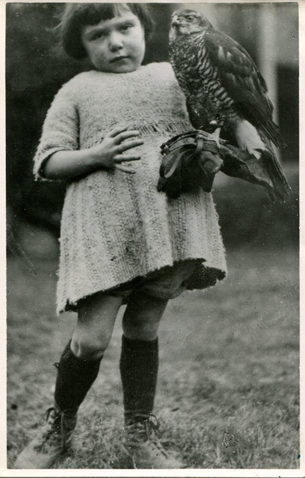 WINIFRED HUMPHREY, age 5 in 1926, with her goshawk King George.