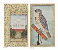 A DOUBLE-SIDED FOLIO: THE TAJ MAHAL AND A BIRD OF PREY, 1800  an elderly man with a child by indian