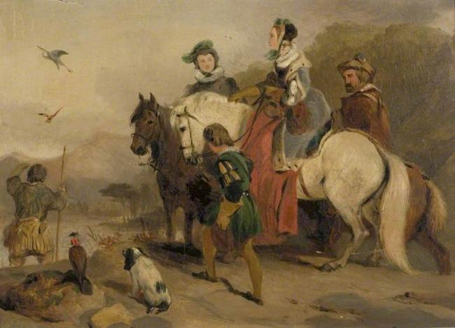 Hunting Party with Falcons by George Cattermole (1800–1868) (attributed to)