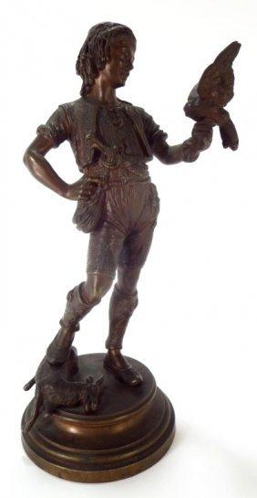 Emile Guillemin, 1841-1907, Boy Falconer, Bronze