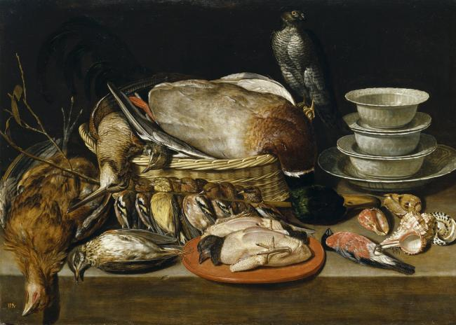 1611, from the Prado set. Arguably the first still-life of dead game birds by Clara Peeters.