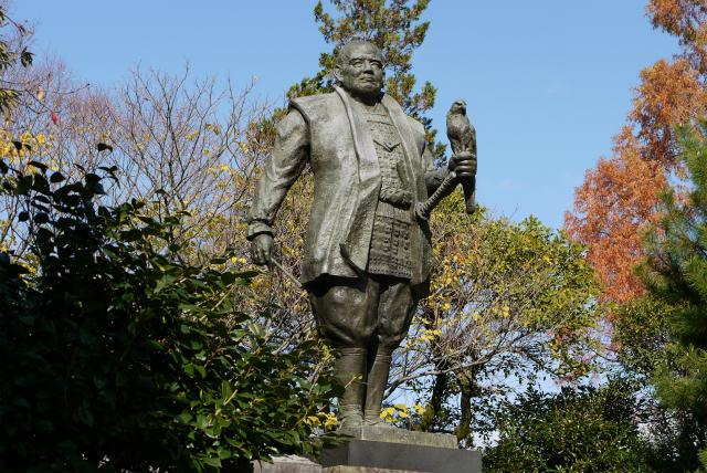 Bronze statue of Ieyasu Tokugawa in Sunpu Castle in Japan