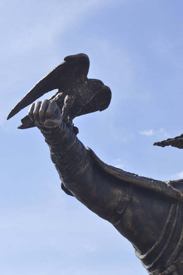 Falconer as a part of the Genghis Khan Statue Complex in Mongolia