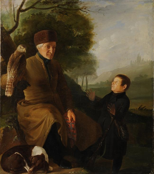 Hunter with a falcon. Portrait of count P.A.Zubov and I.A.Yakubovskiy