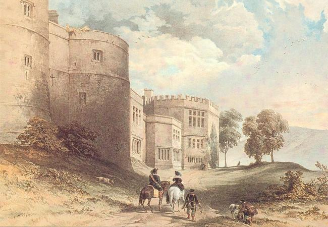 Return of Hawking party to Skipton Castle - 1840's