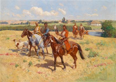 Setting off on the Falcon Hunt, signed Franz Roubaud  (1856-1928), oil on canvas