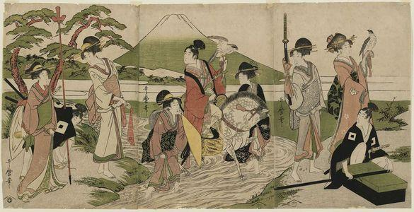 Hawking Party in Front of Mount Fuji by Kitagawa Utamaro (1800)