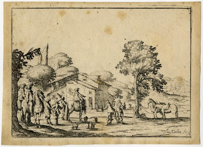 Antique Master Print-LANDSCAPE-HUNTING PARTY-INN-FALCONRY-Bazicaluva-Callot-1638