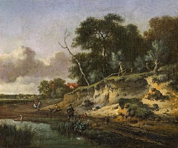 Dune Quarry with Falconers and a Pond, 1671 by Jan Wijnants