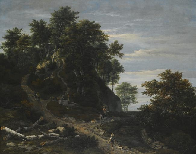 Hilly Wooded Landscape with a Falconer and a Horseman by Jacob van Ruisdael