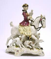 Falconer on horse porcelain figure present decoration accessory hand painted