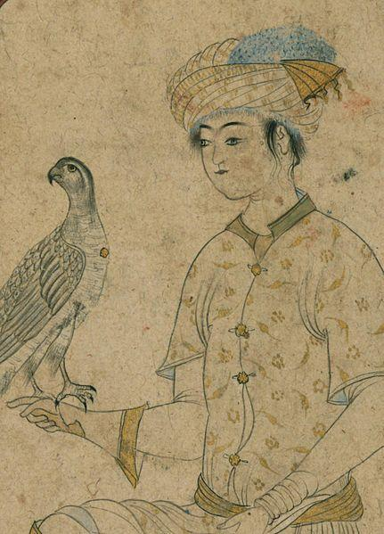 Iranian - Single Leaf of a Youth with a Falcon - Walters W682 - Detail