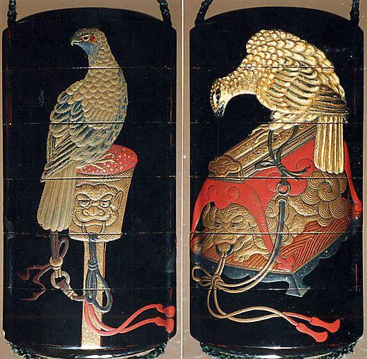 Case (Inrô) with Design of Hawks on Tasseled Perches Kano Terunobu (1717–1763)