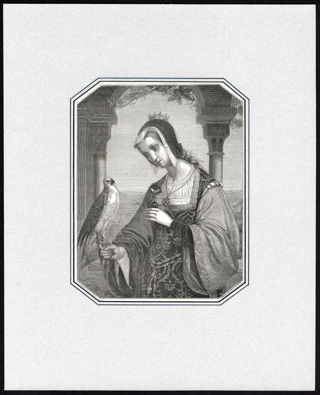 Antique-Master-Print-NOBLE-WOMAN-CROWN-FALCONRY-Leloir-Durer-Marville-1841