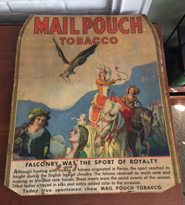 Original Vintage MAIL POUCH TOBACCO Cardboard Lithograph Ad Sign Poster Falconry