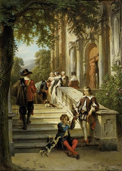 Return to the castle after the falcon hunt by Jan Michiel Ruyten (1813-1881)