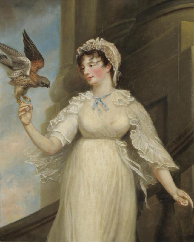 Portrait of Emily St Clare with a falcon by James Northcote (1746-1831)