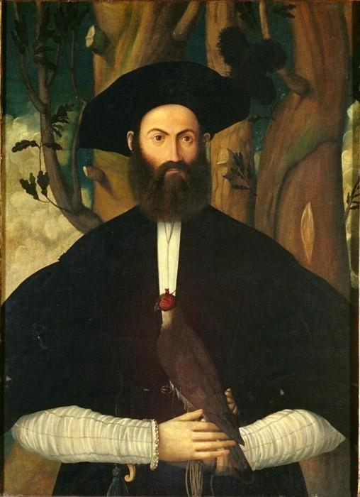 Bearded Man with a Falcon. Attributed to Bastiani Lazzaro, ca. Located at the Courtauld Gallery, Lon
