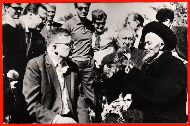 Soviet composer D.D.Shostakovich (1906-1975) with falconers in Kyrgyzstan in 1963