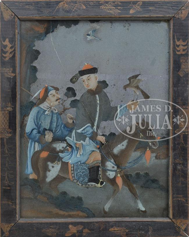19th century, China. Depicting a Manchurian falconer and his attendant