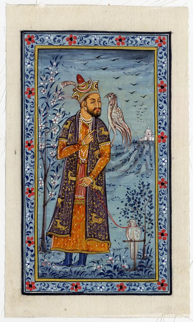 Antique Drawing-MUGHAL-KHAN-FALCONRY-India-20 th. c.