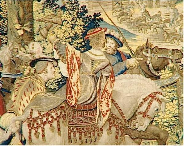 In Louvre 1530 tapestry The Hunts of Maximilian said Beautiful hunts of Guise