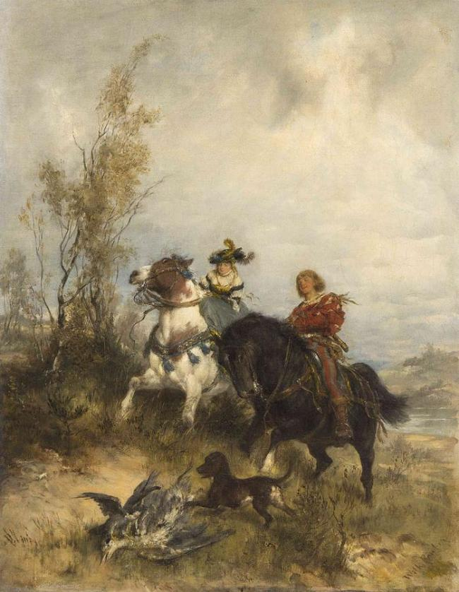 Horses And A Man is a painting by Wilhelm Karl Rauber (1849-1926)