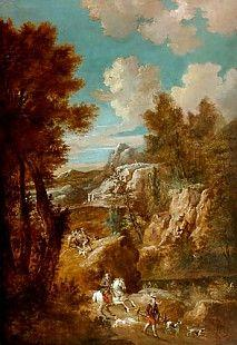 Knight and falconer in Italian mountain landscape by Roeland Roghman (1627-1692)