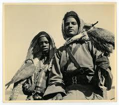 Arab falconers from probably Bahrain or Saudi Arabia taken during circa 1955-1960