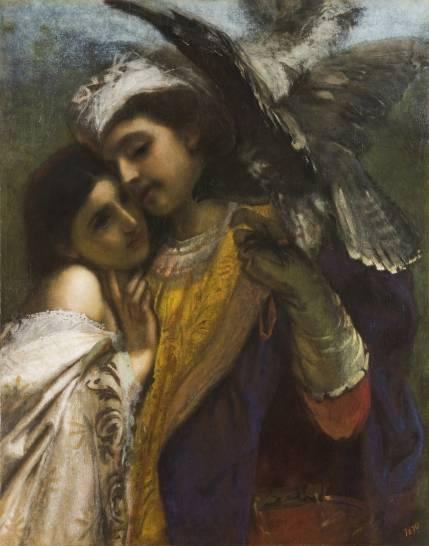 The Falconer by Italian artist Tranquilla Cremona (1837-1878), made in 1863