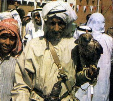 Hunter with a falcon in the UAE in 1979