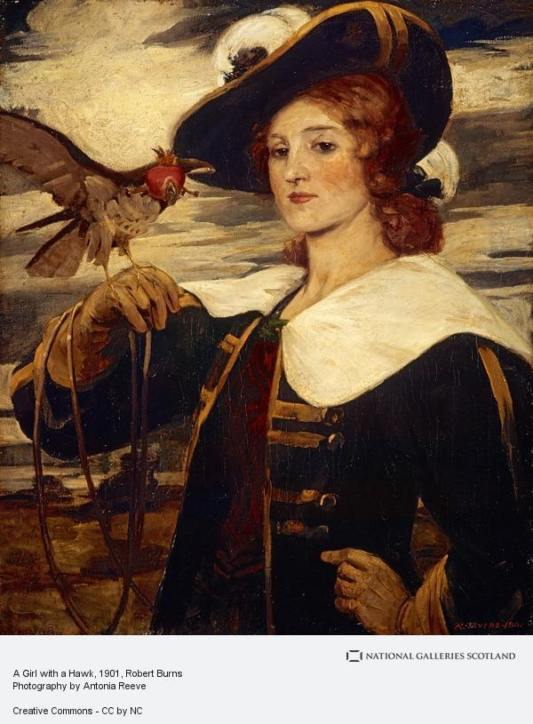 A Girl with a Hawk by Scottish artist Robert Burns (1869 - 1941)