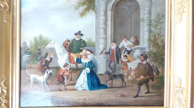 Falconry Beautiful antique Dutch painting on a wood panel  2