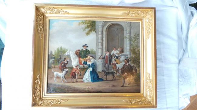 Falconry Beautiful antique Dutch painting on a wood panel  3