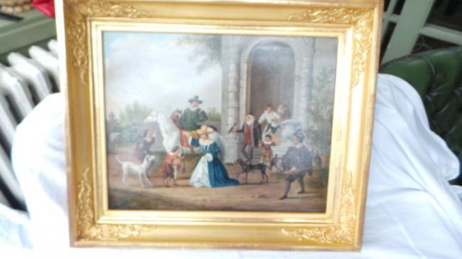 Falconry Beautiful antique Dutch painting on a wood panel