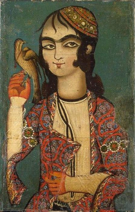 Boy with a hawk - Kajari painting. Persia. End of 18th cernury.